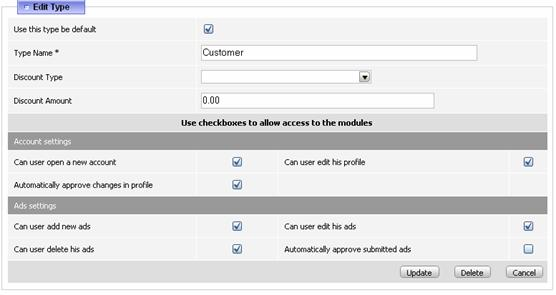 Figure 3.6.1: The user type settings